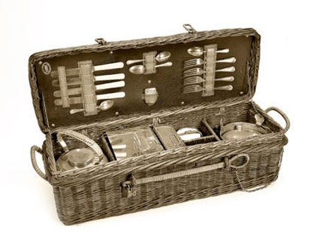 black and white photo of picnic basket
