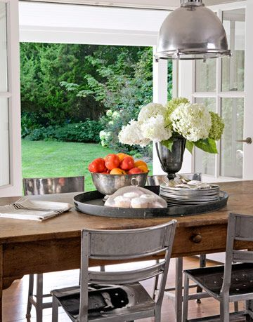 kitchen table with silver chairs