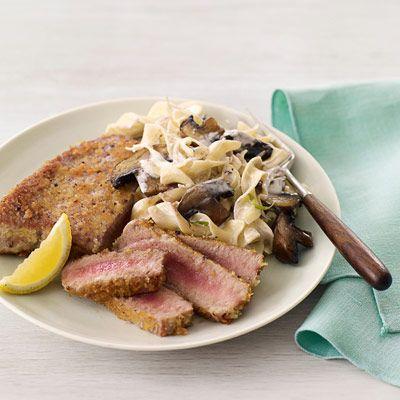crunchy tuna steaks creamy noodles