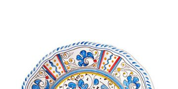blue rooster pattern plate