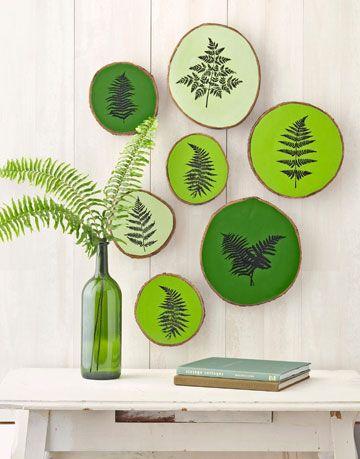 green wood stump plaques with fern motif