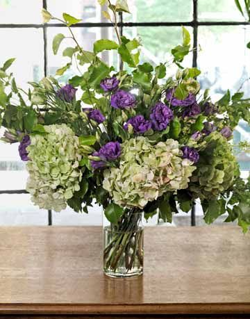 purple and white floral arrangement