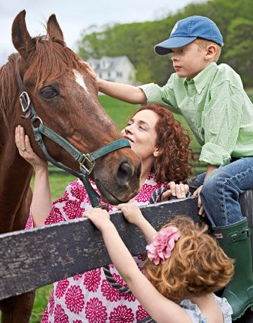 paige orloff with children and horse