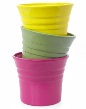 pink green and yellow pots