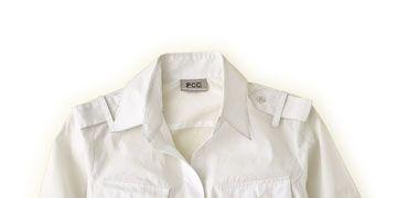 white cotton safari style shirt