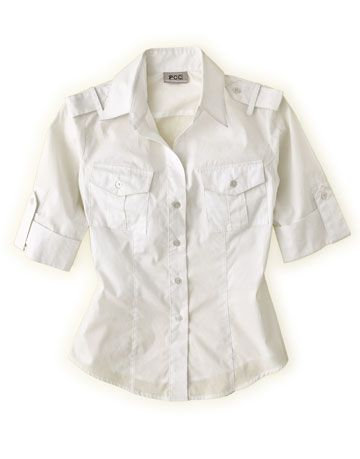 white cotton safari style shirt