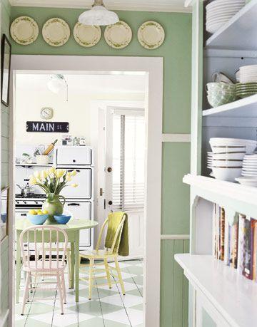 kitchen with door and miniblinds