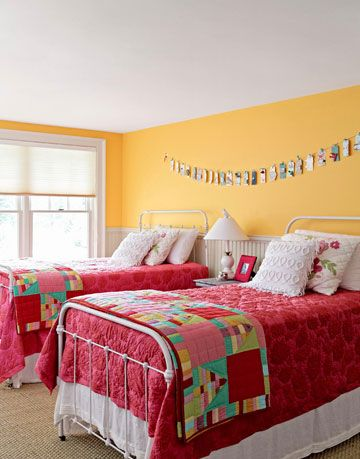 yellow and red bedroom
