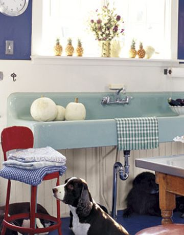 long sky blue porcelain sink