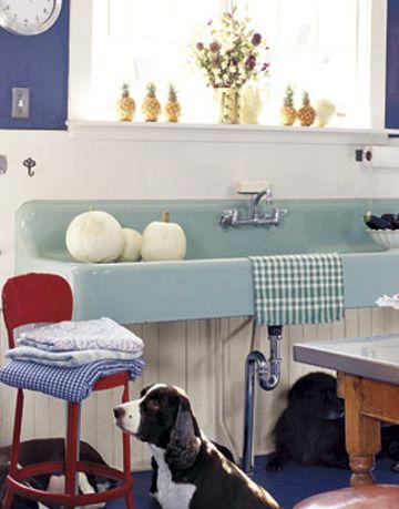 long sky blue porcelain sink