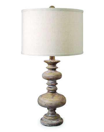spindled lamp base with shade