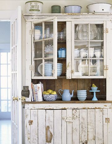 white vintage cabinet & 12 Shabby Chic Kitchen Ideas - Decor and Furniture for Shabby Chic ...
