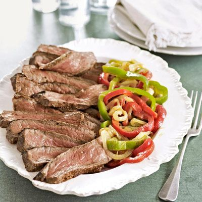 steak with peppers and onions