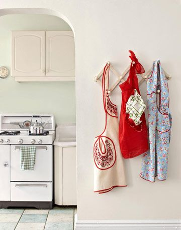 aprons hanging in kitchen