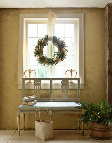 wreath above bench - Swedish Christmas Decorations