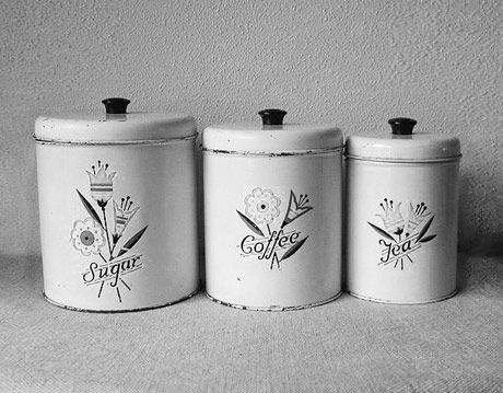 vintage metal kitchen canisters