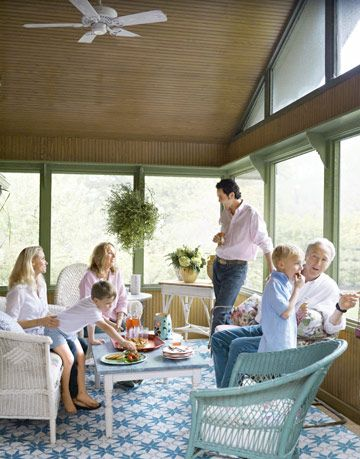 family time in the enclosed porch