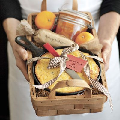 giftbasket with honey butter and cornbread