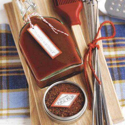 gift basket with homemade ketchup and backyard bbq rub
