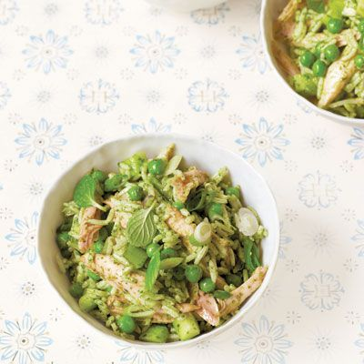 chicken and rice with mint pesto