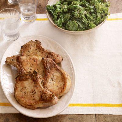 sauteed pork chops with kale