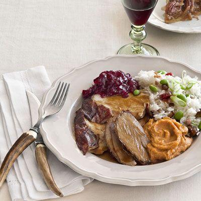 roasted turkey with hoisin gravy mashed yams and sticky rice