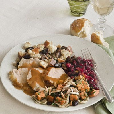 brined and roasted turkey with pan gravy