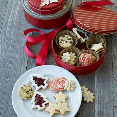 linzer tarts, chocolate stars, cranberry pistachio cookies