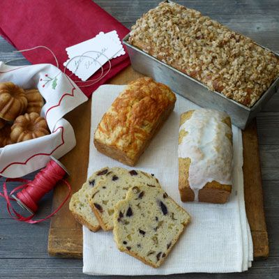 apple loaf and bacon cheddar mini loaves and glazed orange poppy seed mini loaves