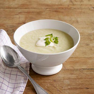 celery soup with creme fraiche