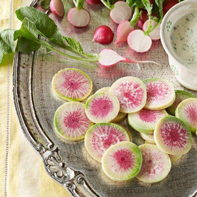 sliced radishes with horseradish buttermilk Dip