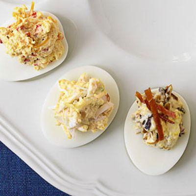 deviled eggs with pimento prosciutto and crabmeat