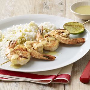 green curry shrimp kebabs with basmati rice