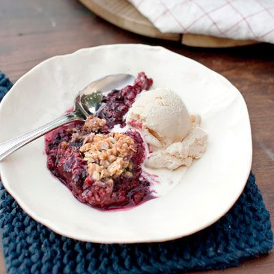 mixed berry crumble with honey vanilla ice cream