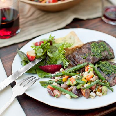 grilled skirt steak with red wine chimichurri