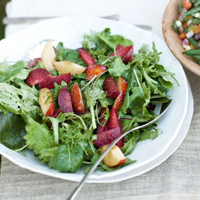 spicy greens and plum salad