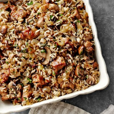 wild rice and basmati dressing with sausage and sage