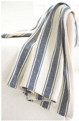 blue striped cotton throw blanket