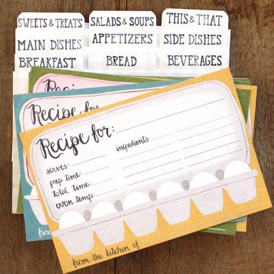 Egg Carton Recipe Cards