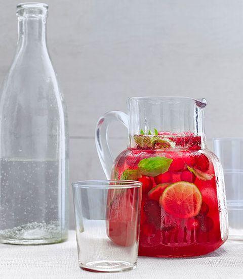 summer cocktails  cranberry basil spritzer