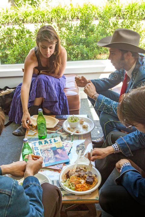Cuisine, Hat, Hand, Food, Bottle, Dish, Meal, Drink, Sitting, Sharing,