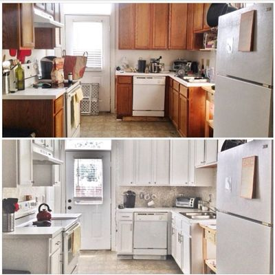 here u0027s a larger photo of what we started with  i mean what wouldn u0027t we love about brown  u002790s cabinets white walls and lovely laminate floors  budget kitchen makeover  u2014 hometalk decorating ideas  rh   countryliving com