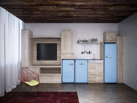 Small Smeg Refrigerators Kitchen Decorating Ideas