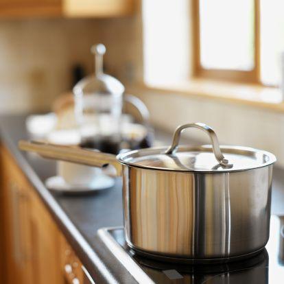 Kitchen, Cookware and bakeware, Kitchen appliance accessory, Metal, Gas, Saucepan, Aluminium, Household hardware, Steel, Kitchen stove,