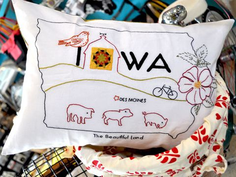 American State Embroidery Pillows Craft Projects