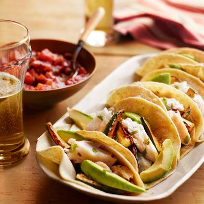 fish and zucchini tacos