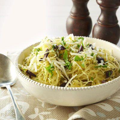 spaghetti squash with olives and pecorino