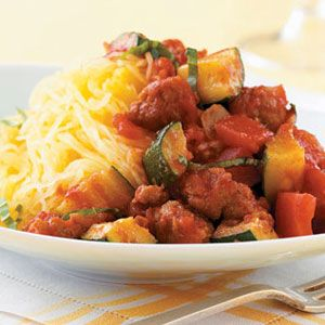 spaghetti squash with chunky sauce