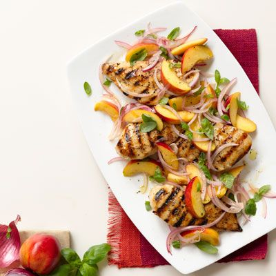 grilled chicken with nectarine red onion and basil