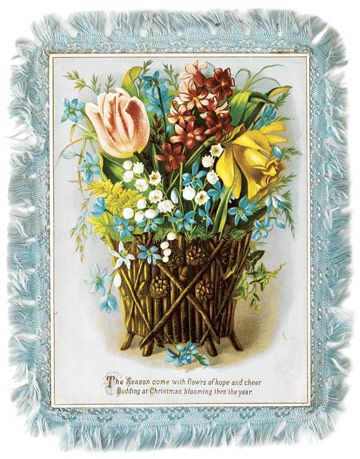 victorian christmas card with silk trim